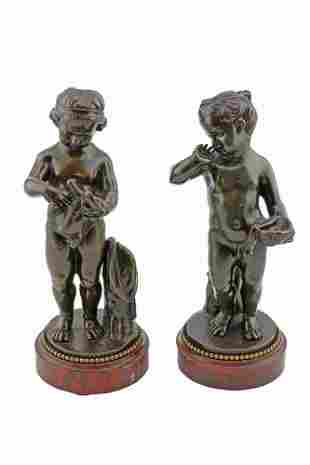 Pair Antique French Bronzes of 2 Young Girls