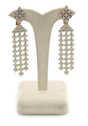18K Yellow Gold Diamond Chandelier Drop Earrings