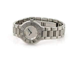 Stainless Steel Midsize Cartier Must 21 Quartz Watch