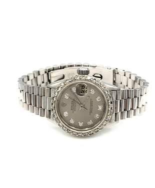 18K White Gold Ladies Datejust w/ Diamonds 6517