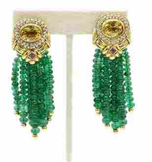 18K YG Diamond Citrine & Emerald Tassle Earrings