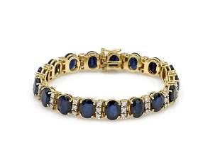 14K Yellow Gold Sapphire and Diamond Tennis Bracelet