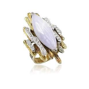 14K YG Lavendar Jade and Diamond Right Hand Ring