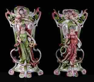 Pair of Sitzendorf Cherub Vases