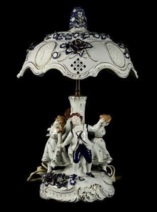 Plaue Schierholz Porcelain Hand Painted Lithophane Lamp
