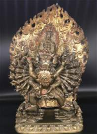 A Gilt Bronze figure fo Hayagriva