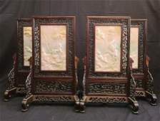 Lot of 4  Chinese Jadeite Hardword Table Screen