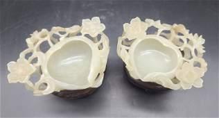 Pair Of Chinese White Jade Shoutao Brush Washer