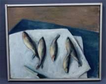 French School, O/C (Still Life w/Fish)