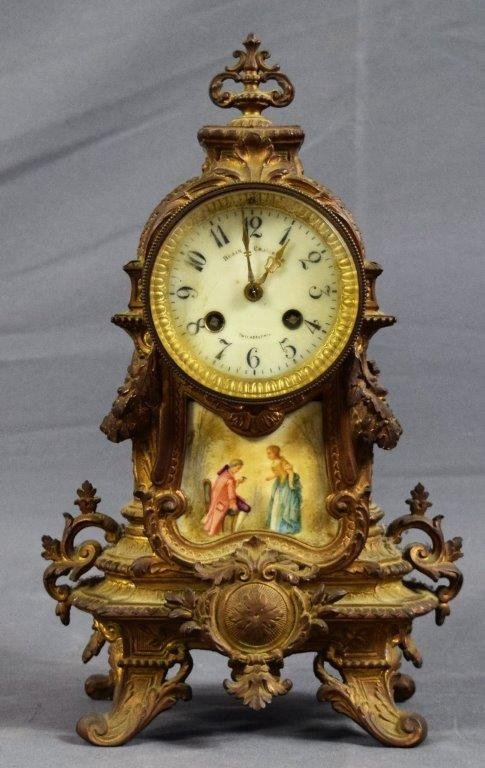 Blair & Crawford Gilt Bronze Clock (Hand Painted)