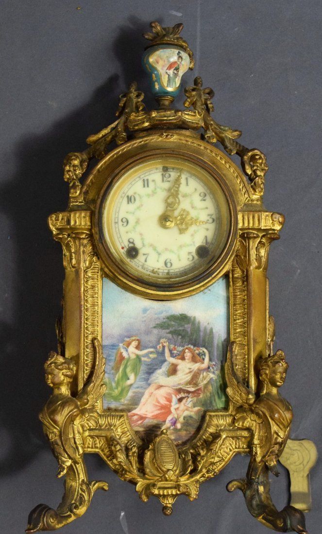 New Haven Gilt Bronze Clock (Hand Painted)