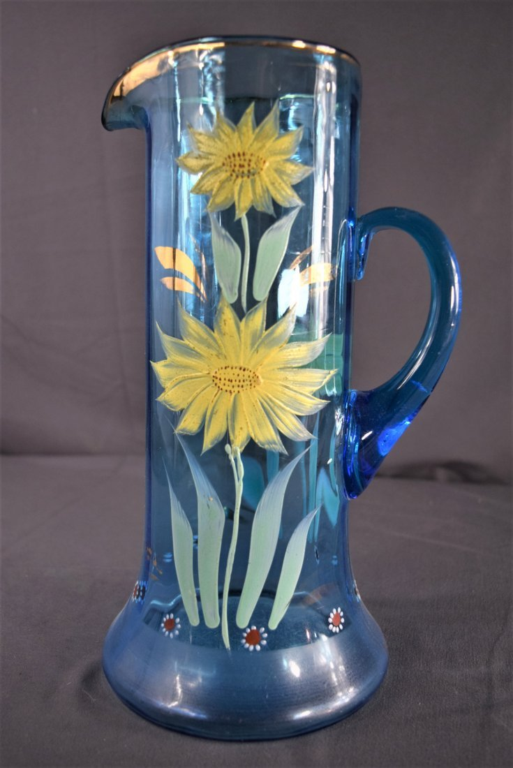 Van Gogh Style Painted Floral Pitcher