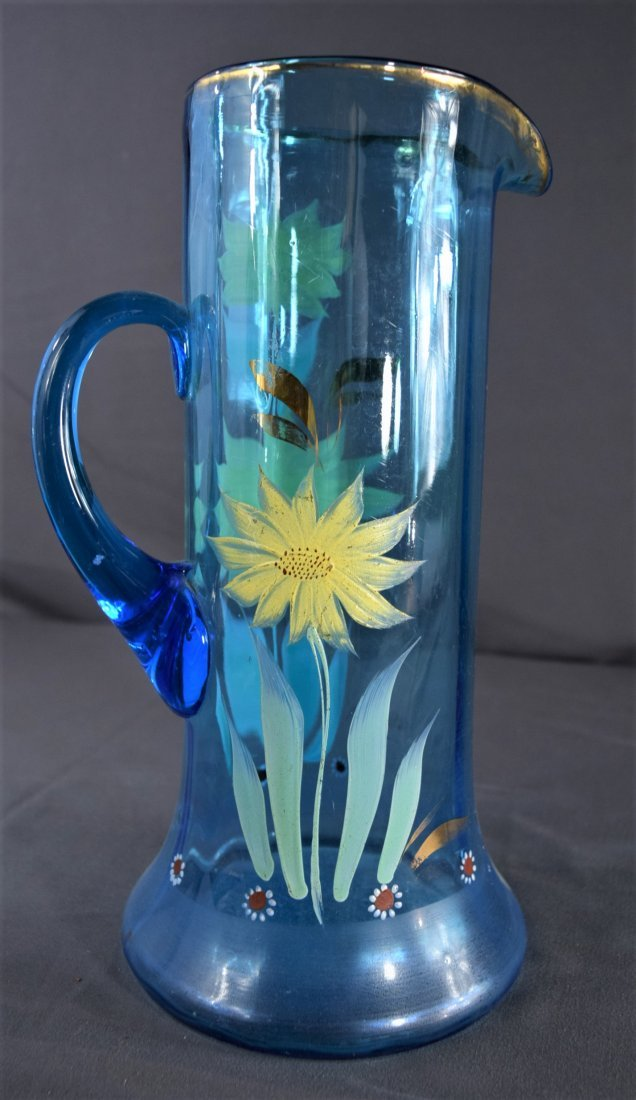 Van Gogh Style Painted Floral Pitcher - 6