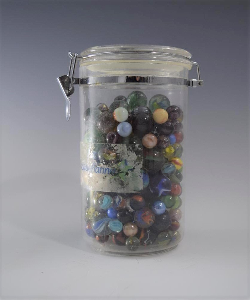"Vintage Jar Of Marbles (8"" x 4"")"