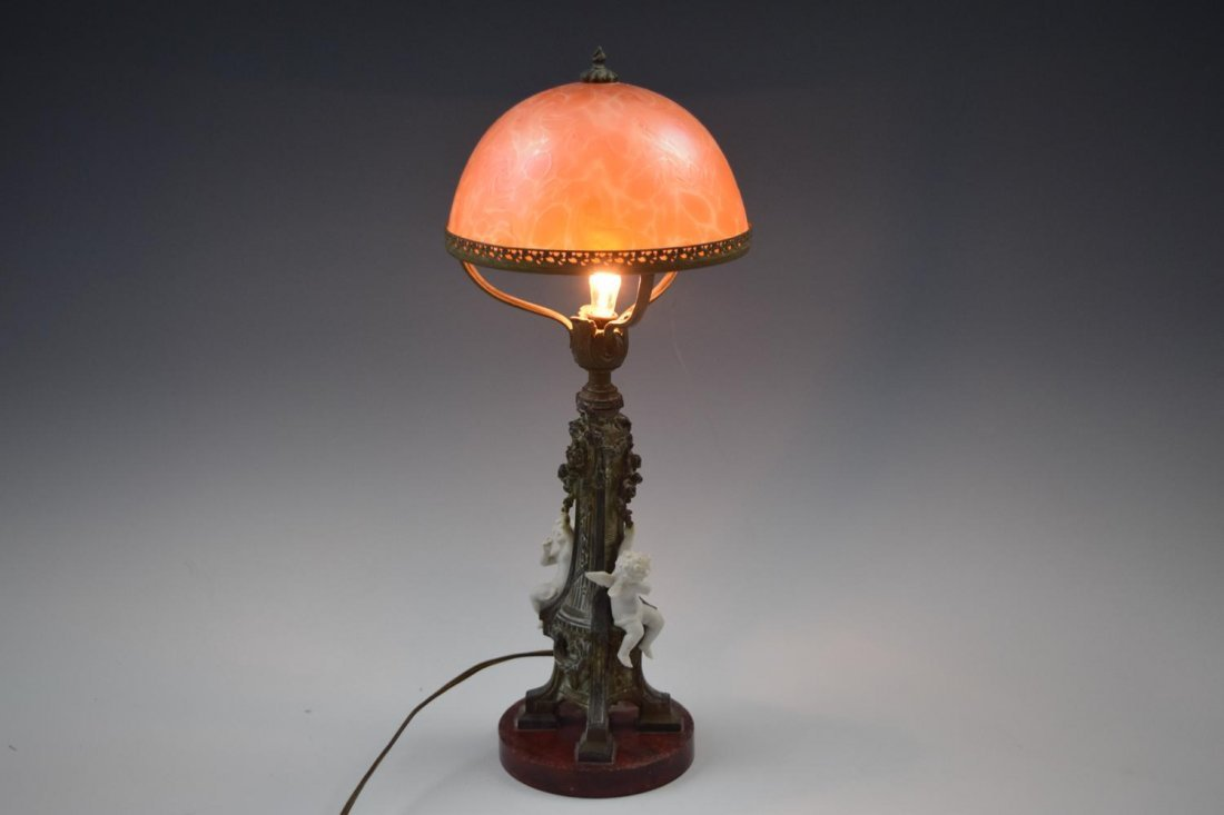 French Pink Shade Bronze Marble Cherub Lamp