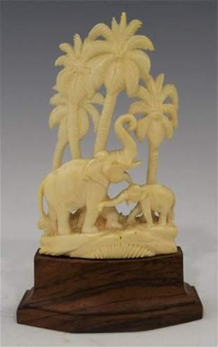 Chinese Bone Carved Elephant wPalm Trees