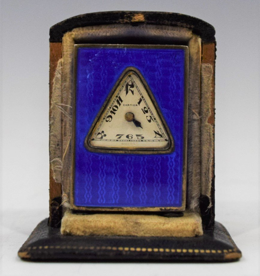 Cartier Art Deco Blue Enamel Desk Clock