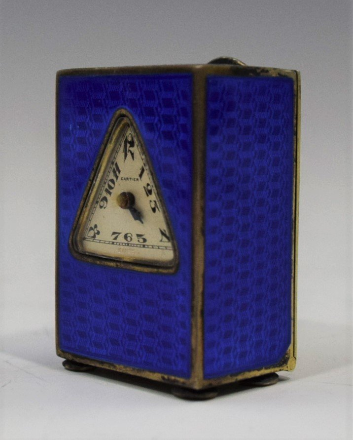 Cartier Art Deco Blue Enamel Desk Clock - 7