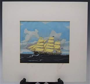 American School Ship Oil on Paper