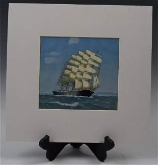 Oil on Paper Ship American School