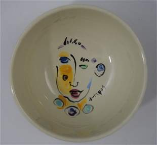 Vintage Picasso Style Ceramic Bowl