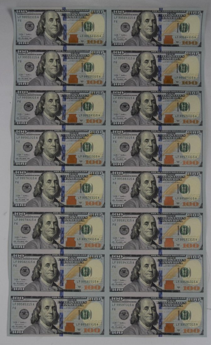 Uncut One Hundred Dollar Bill Paper Currency Sheet