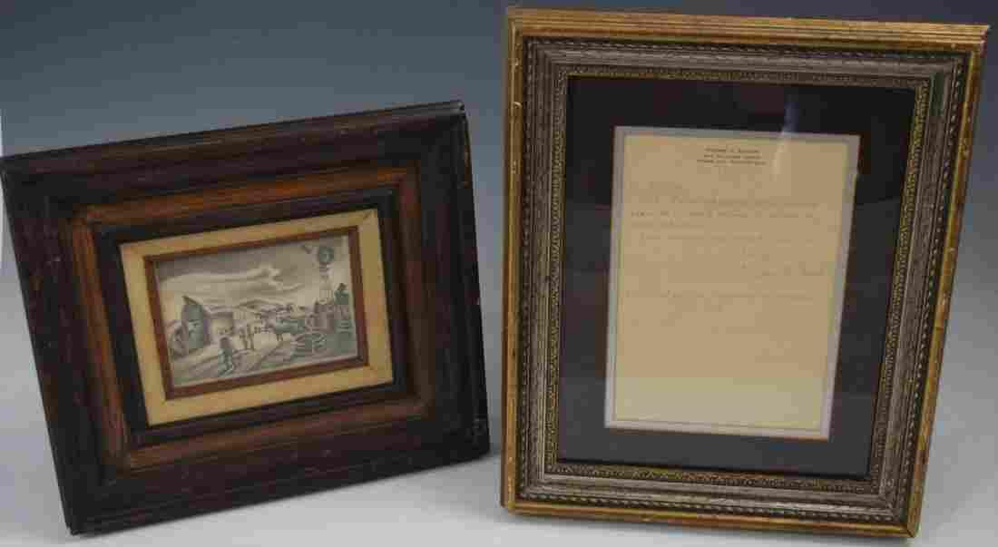 Thomas Hart Benton, Drawing (w/artist letter)