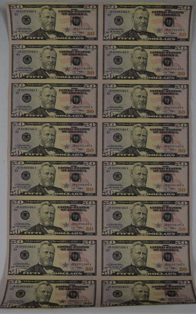 Uncut Fifty Dollar Bill Paper Currency Sheet
