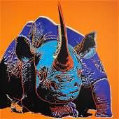 After Andy Warhol Black Rhinoceros Screenprint wstamp