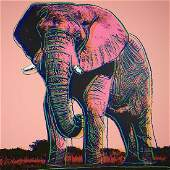 After Andy Warhol African Elephant Screenprint wstamp