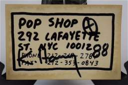Keith Haring Pop Shop, NYC Card (Signed)