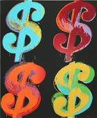 After Andy Warhol Four Dollar Signs Print Wove Paper