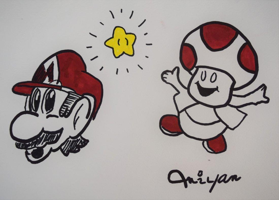 Shigeru Miyamoto - Mario & Toad (Drawing)