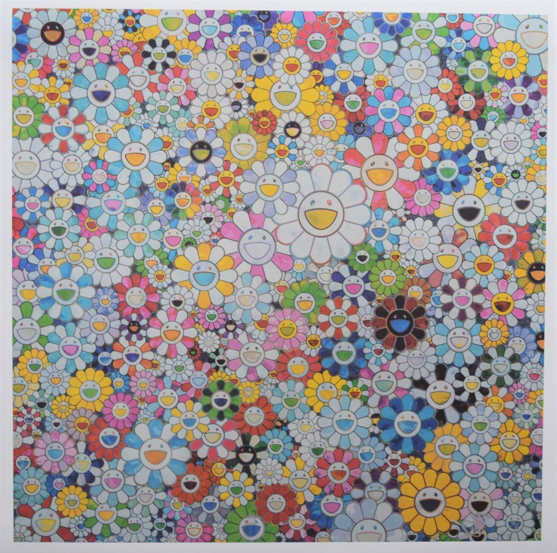 After Takashi Murakami - Flowers with Smiley Faces