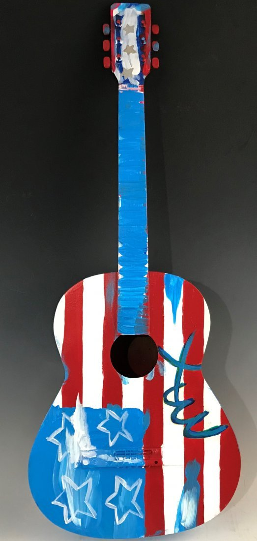 Peter Max - Acrylic Painted Guitar