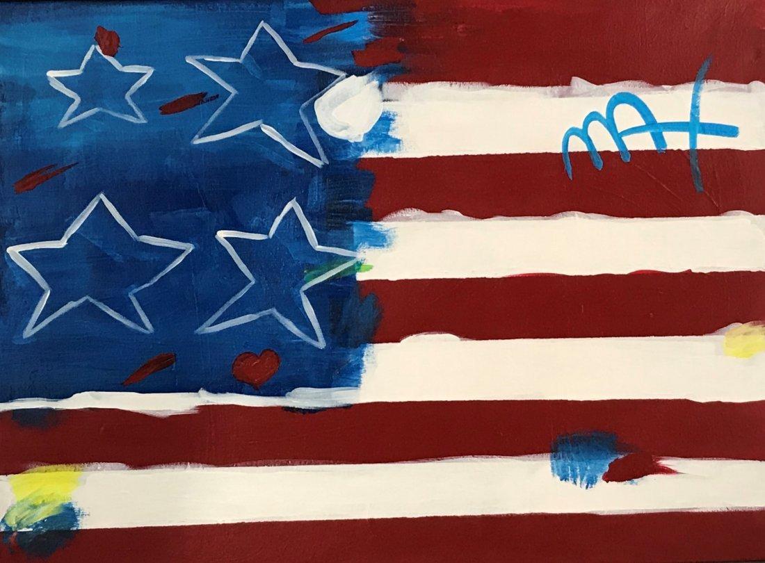 Peter Max - Acrylic on Canvas (Flag)