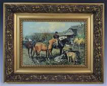 Josef Brandt - Oil on Canvas (Man with Horses and Dogs)
