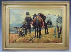 Josef Brandt - Oil on Canvas (Man with Horse)