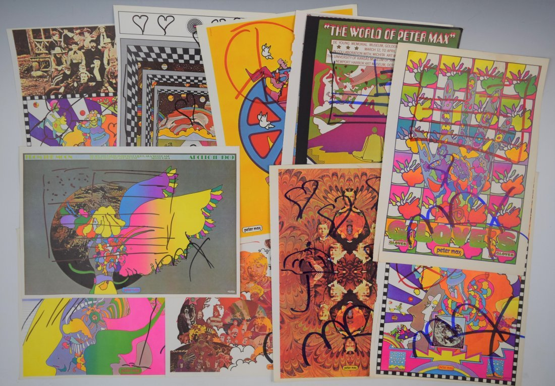 Lot of 11 Peter Max Signed Posters (w/sketches)