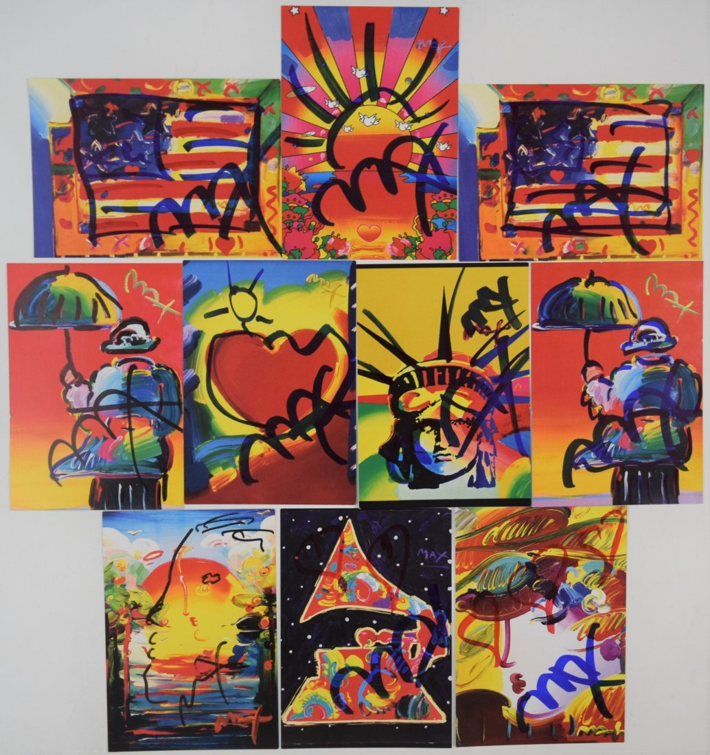 Lot of 10 Peter Max Postcards (Signed w/sketches)