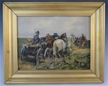 Jan Konarski - Oil on Canvas (Men with Horses)