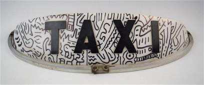 Keith Haring Drawing on Taxi Cab Light