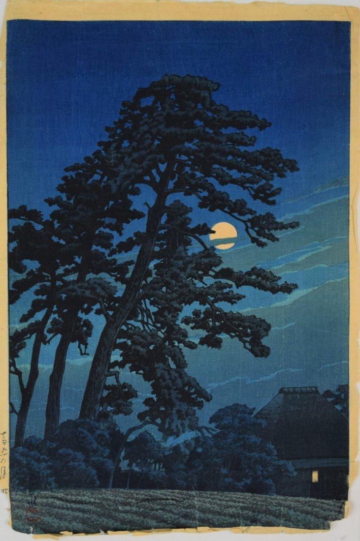 Kawase Hasui - Moon at Magome (Signed Woodblock)