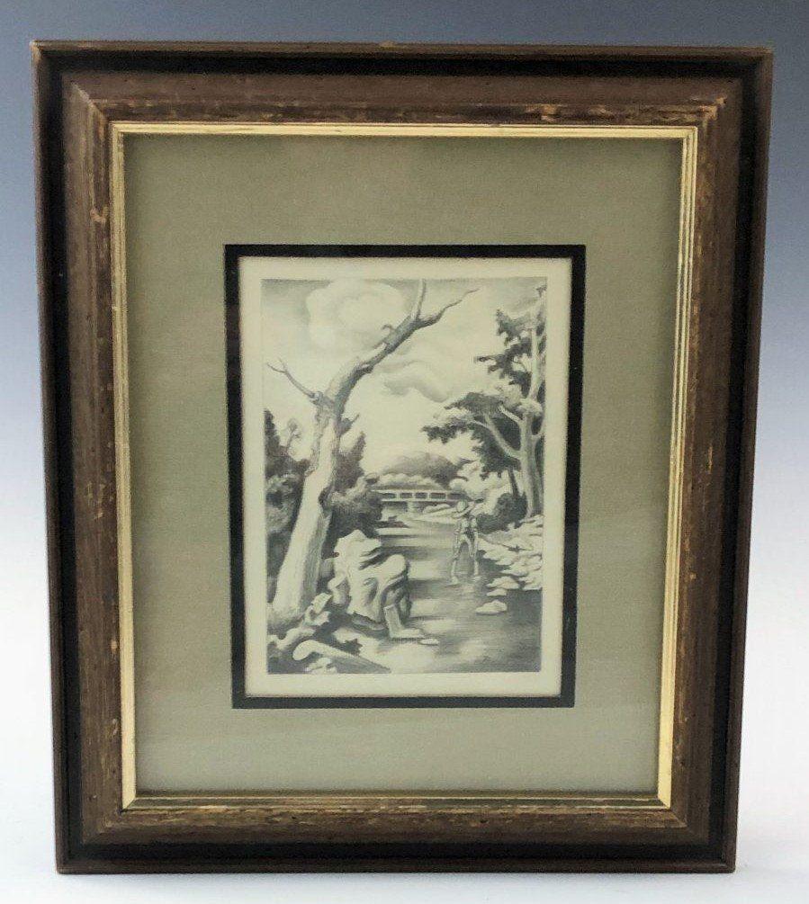 Thomas Hart Benton - Shallow Creek Pencil study c. 1939