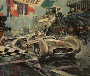 Hans Liska - Mercedes Benz Racing Lithograph (1950s)