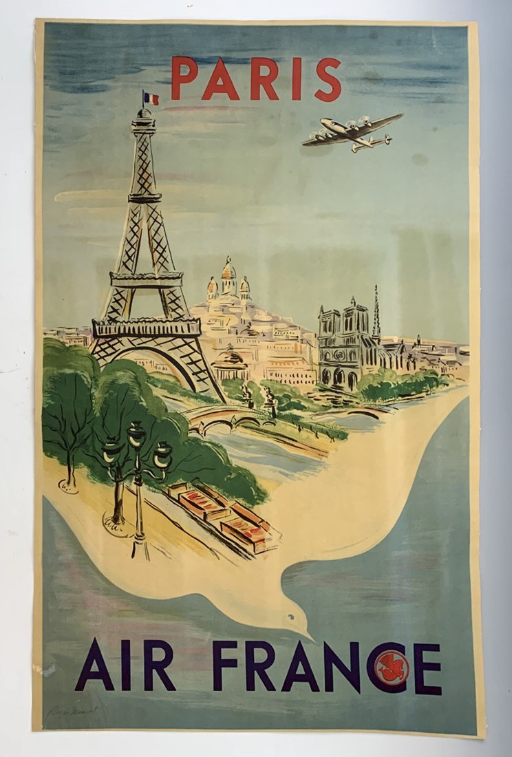 "Raoul Dufy ""Air France"" Vintage Lithograph on Linen"