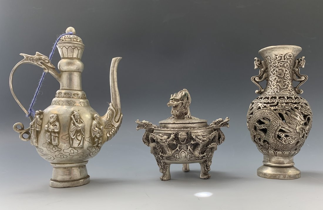 Grouping of Chinese Dragon Silverplate (Pot,Censer,etc)