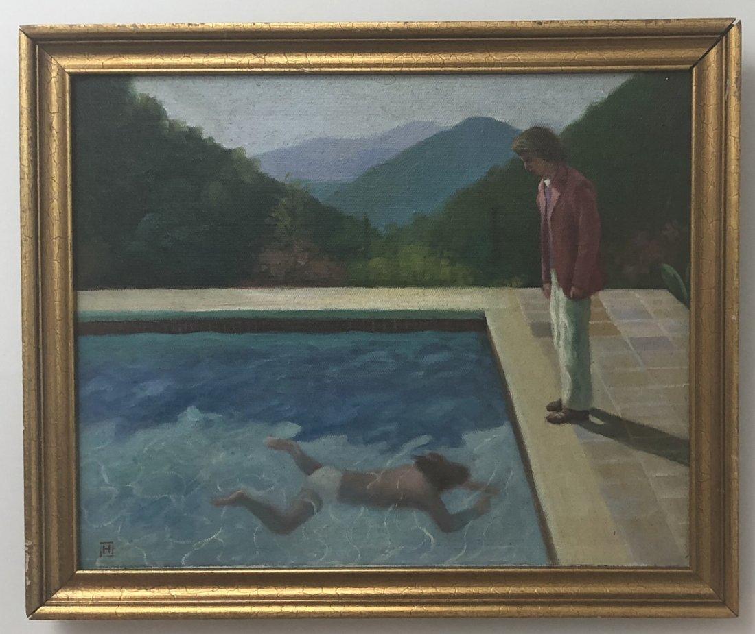 Circa 1970s California Swimming Pool Oil Painting