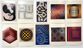 Grouping of 10 Victor Vasarely Colored Prints