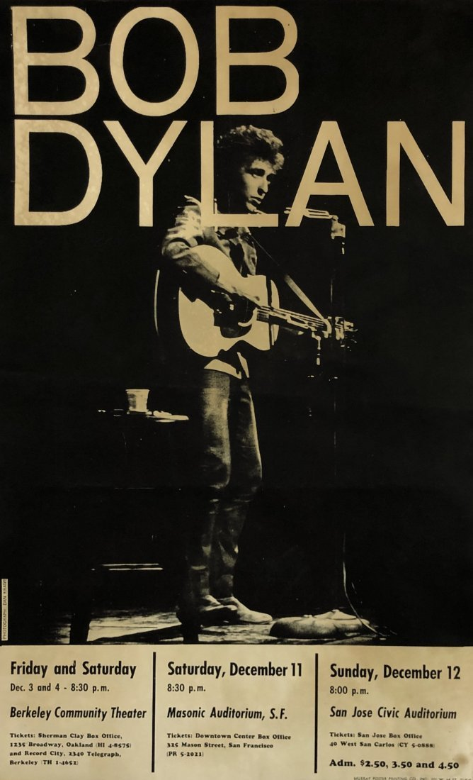 Bob Dylan Concert Poster Berkeley, San Jose